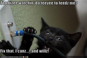 Too bizee watchin' da teevee to feedz me?  Fix that, I canz......and willz!