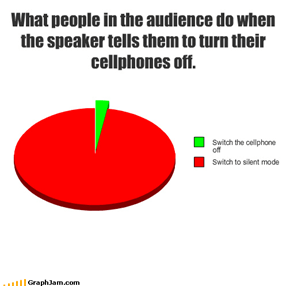 What people in the audience do when the speaker tells them to turn their cellphones off.