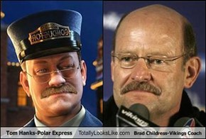 Tom Hanks-Polar Express Totally Looks Like Brad Childress-Vikings Coach