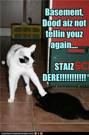Basement, Dood aiz not tellin youz again....  STAIZ DERE!!!!!!!!!!!