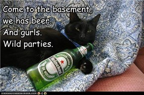 Come to the basement,  we has beer. And gurls. Wild parties.