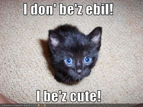 I don' be'z ebil!  I be'z cute!