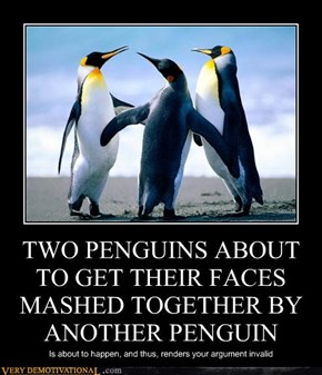 TWO PENGUINS ABOUT TO GET THEIR FACES MASHED TOGETHER BY ANOTHER PENGUIN