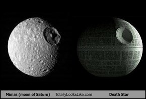 Mimas (moon of Saturn) Totally Looks Like Death Star