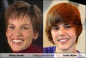 Hillary Swank Totally Looks Like Justin Bieber