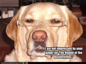 I am not impressed by your paper on 'The Hound of the Baskervilles.""