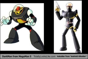 "DarkMan from MegaMan 5 Totally Looks Like Hakaider from ""Android Kikaider"""