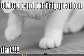OMG i cud of tripped on   dat!!!