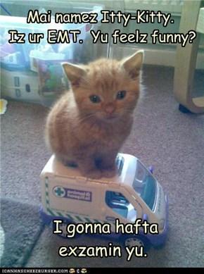 Mai namez Itty-Kitty.  Iz ur EMT.  Yu feelz funny?