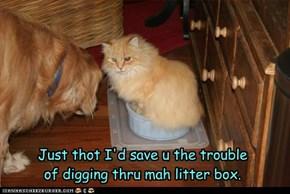 Just thot I'd save u the trouble of digging thru mah litter box.