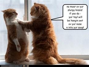 no moar ov yur slurpy kissis!  if yoo do -  yur tayl will  be hangin owt  ov yur nose n into yur soop!