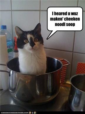 I heared u wuz maken' cheeken noodl soop