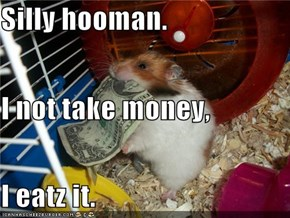 Silly hooman. I not take money, I eatz it.