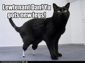 Lewtenant Dan! Yu gots new legs!