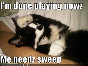I'm done playing nowz  Me needz sweep