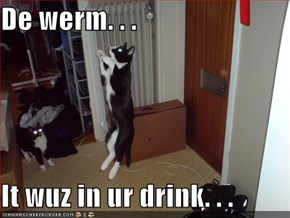 De werm. . .  It wuz in ur drink. . .
