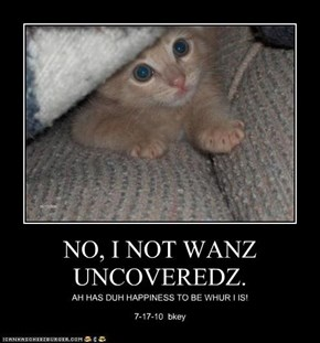NO, I NOT WANZ UNCOVEREDZ.