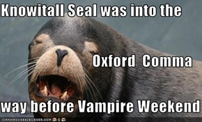 Knowitall Seal was into the                     Oxford  Comma    way before Vampire Weekend