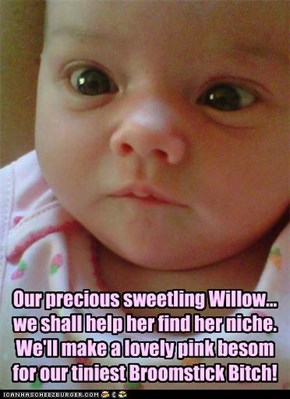 Our precious sweetling Willow... we shall help her find her niche. We'll make a lovely pink besom for our tiniest Broomstick Bitch!