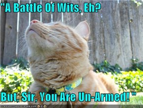 """A Battle Of Wits, Eh?  But, Sir, You Are Un-Armed! """