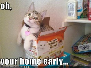 oh,  your home early...