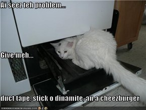 Ai seez teh problem... Give meh... duct tape, stick o dinamite, an a cheezburger