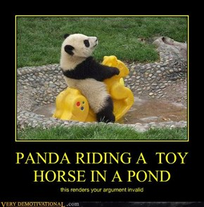 PANDA RIDING A  TOY HORSE IN A POND