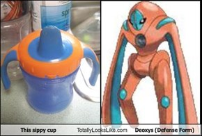This sippy cup Totally Looks Like Deoxys (Defense Form)