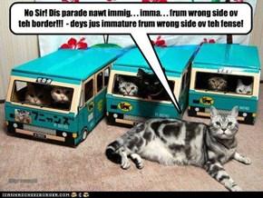 No Sir! Dis parade nawt immig. . . imma. . . frum wrong side ov teh border!!!  - deys jus immature frum wrong side ov teh fense!
