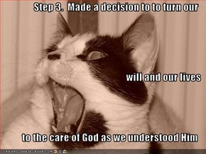 Step 3.  Made a decision to to turn our will and our lives  to the care of God as we understood Him