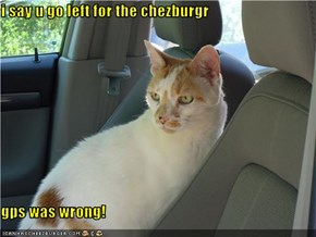 i say u go left for the chezburgr  gps was wrong!