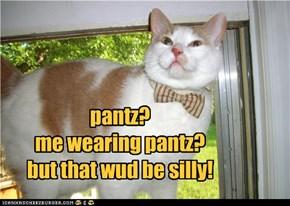 pantz? me wearing pantz? but that wud be silly!