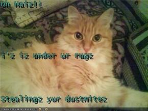 Oh Haiz!!  i'z iz under ur rugz Stealingz yur dustmitez