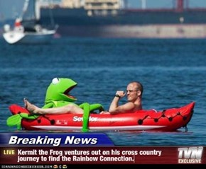 Breaking News - Kermit the Frog ventures out on his cross country journey to find the Rainbow Connection.