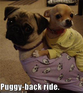 Puggy-back ride.