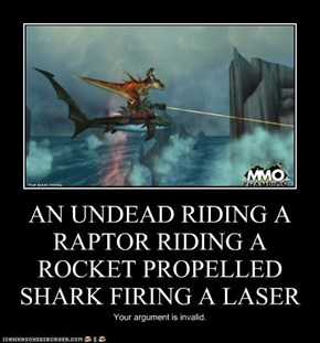 AN UNDEAD RIDING A RAPTOR RIDING A ROCKET PROPELLED SHARK FIRING A LASER