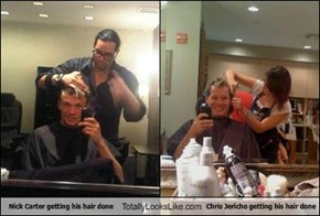 Nick Carter getting his hair done Totally Looks Like Chris Jericho getting his hair done