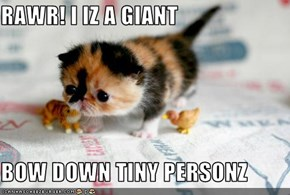 RAWR! I IZ A GIANT  BOW DOWN TINY PERSONZ