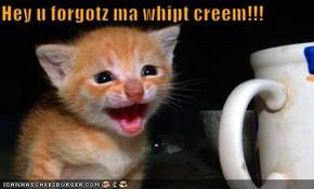 Hey u forgotz ma whipt creem!!!
