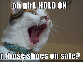 oh girl, HOLD ON  r those shoes on sale?