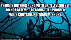 THERE IS NUTHING RONG WITH UR TELEVIZUN SET. DO NOT ATTEMPT TO ADJUST TEH PIKCHER.  WE IS CONTROLLING TRANSMISHUNS.