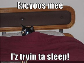 Excyoos mee  I'z tryin ta sleep!