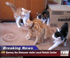 Breaking News - Barney the Dinosaur visits Local Rehab Center