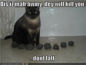 Dis iz mah awmy, dey will kill you  ...dont laff