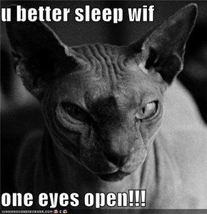 u better sleep wif  one eyes open!!!