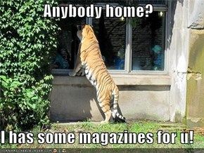 Anybody home?  I has some magazines for u!