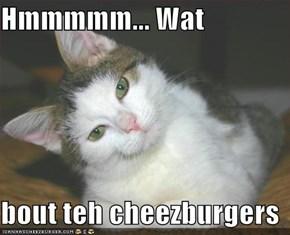 Hmmmmm... Wat  bout teh cheezburgers