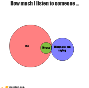 Me My ass How much I listen to someone ... Things you are saying