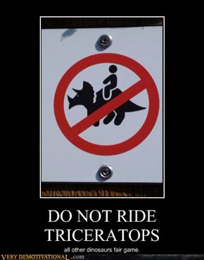DO NOT RIDE TRICERATOPS