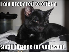 I am prepared to offer a  small fortune for your soul.